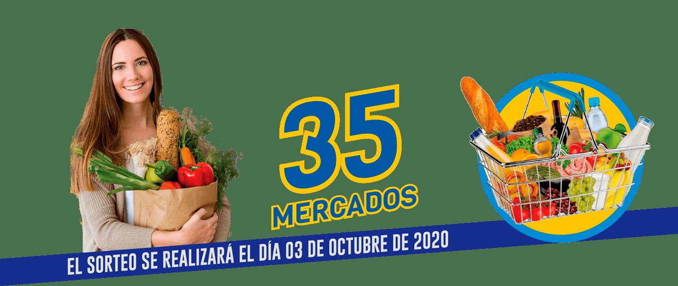 35 mercados, el sorteo se realizará el día 3 de octubre de 2020